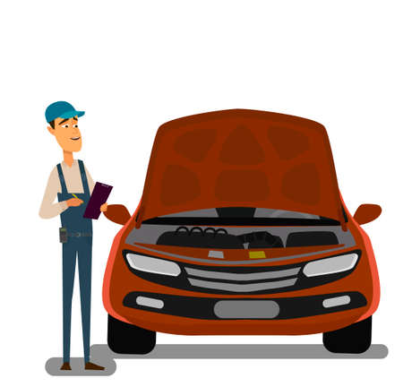 Car Mechanic Working In Auto Repair Service. Vector illustration
