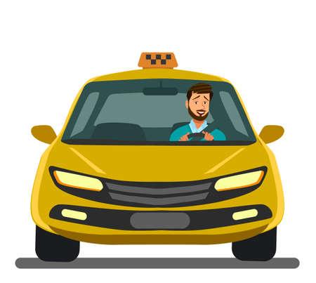 Conductor de taxi sonriente en uniforme cerca de su coche. Servicio de taxi. Vista de perspectiva. Ilustración de vector de estilo plano de dibujos animados.