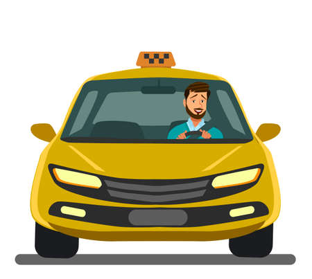 Smiling taxi driver in uniform near his car.Taxi service. Perspective view. Vector illustration in cartoon flat style. Ilustração