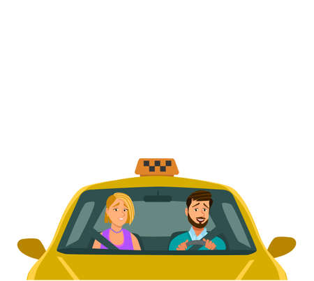 Friendly taxi driver at the wheel of the car. Vector illustration of a flat design