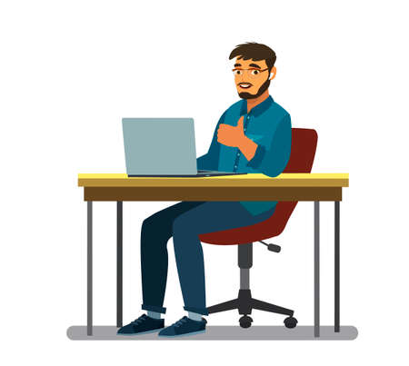Business man at the desktop with a laptop. Freelancer or office worker. Vector illustration in cartoon style