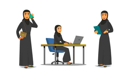 Set of business arab woman character with hijab. people character. Illustration