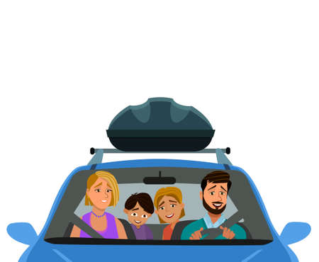 Happy family rides in a car. Dad, mom, children awent on a vacation trip. Vector illustration in cartoon style