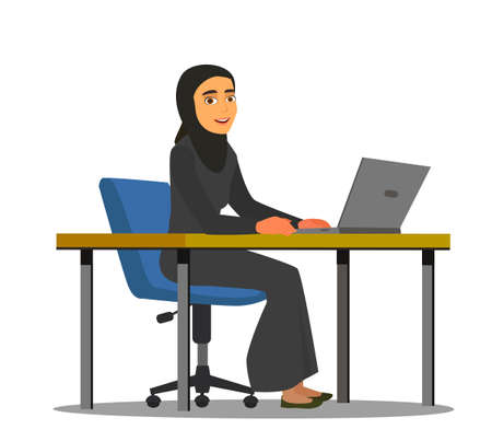 Young arab girl sitting in comfortable armchair at the table with laptop. Muslim business woman wearing hijab working at home or in office. Colored vector illustration in flat cartoon style. Ilustração