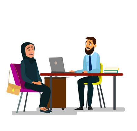 A girl in a burqa is being interviewed for a job. Employment. A girl in a burqa. Vector illustration.