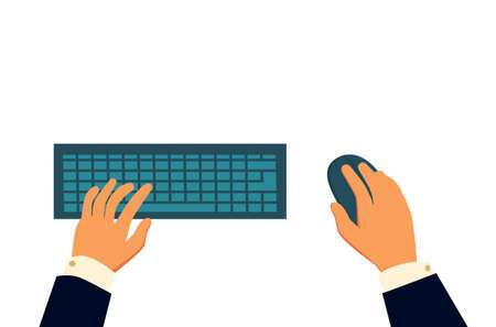 Computer keyboard and mouse with hands of user - stock vector.