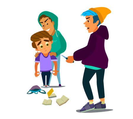 Two hooligans Rob a schoolboy and steal with a knife. Social problem. Vector illustration.