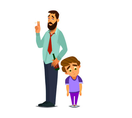 A little boy with a drunk dad. Social problem. Dysfunctional family. Vector illustration.