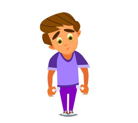 Le pauvre petit garçon a sorti ses poches. Illustration vectorielle.