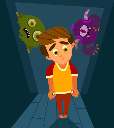 A little boy can't sleep because he has fear in the night.Vector illustration in flat style.