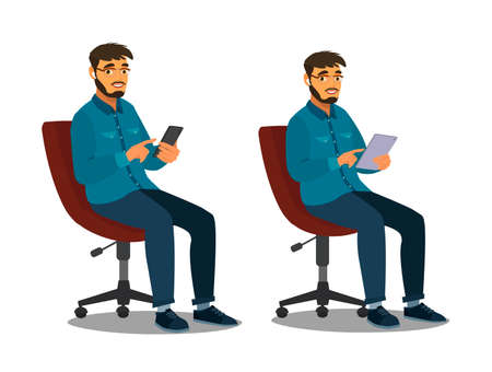 A man uses a smartphone and tablet while sitting on a chair. Internet surfing or reading articles.