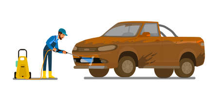 A man washes a very dirty car Banner car wash. Car wash service. Vector illustration in cartoon style.