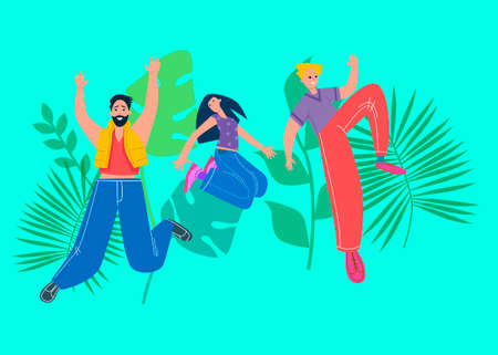 Happy group of people jumping. The concept of friendship, healthy lifestyle, success. Vector illustration in cartoon style