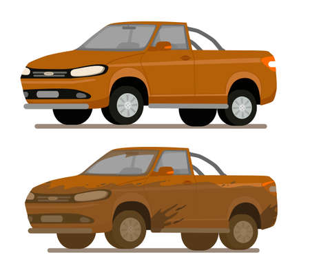 Dirty and clean car. Car before and after car wash. Car wash service. Vector illustration in cartoon style. Ilustração