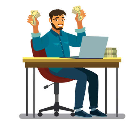 A happy man at a laptop is holding banknotes with money in his hands. Successful business, people, success and luck concept-happy business man with dollar money in the hands of Millennials Vector illustration in cartoon style Ilustração