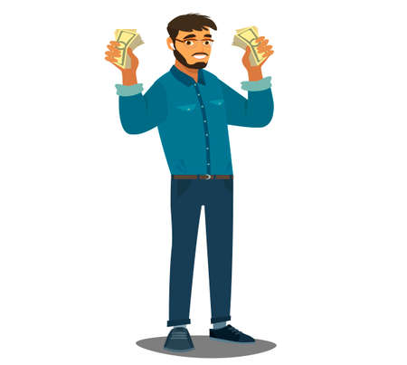 Happy man with banknotes of money in his hands. The concept of wealth. Vector illustration in cartoon style