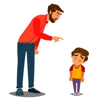 Gronder les enfants. Père gronder un garçon malheureux. Illustration vectorielle d'un design plat.