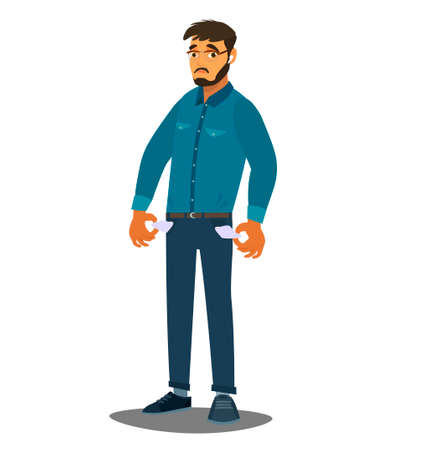 No money. A man with his pockets turned out. Vector illustration in cartoon style Ilustração