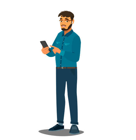 Bearded man holds smartphone in hands. People and gadgets. Using the application in the phone. Vector illustration in cartoon style Ilustração