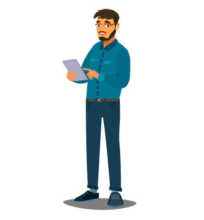 A happy person holds a tablet computer in their hands. Vector illustration in cartoon style.