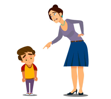 Mom scolds her son . Vector illustration in cartoon style. Vettoriali