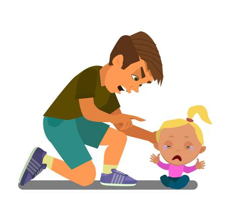The older brother scolds his little sister. A little girl is crying. Vector illustration in cartoon style.