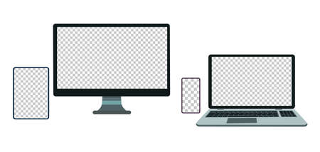 Set of devices on white background. Computer laptop tablet and smartphone with empty screens. Mock up.