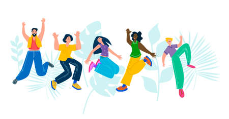 Happy group of people jumping. The concept of friendship, healthy lifestyle, success. Vector illustration in a flat style Ilustração