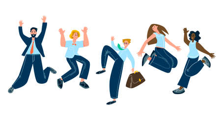 Happy jumping office workers flat vector illustration. Funny corporate employees put cartoon characters. Young male and female students in casual clothing isolated clipart. A diverse group of people.