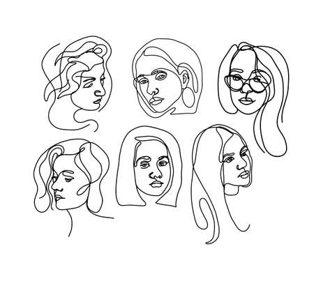 Graphic one line woman face. Young girl model. A trendy symbol in a minimalistic style.