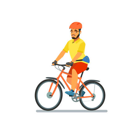 A happy man, dressed in sportswear and a helmet, is riding a Bicycle. Bike ride. Cyclist. Leisure and active recreation. Vector illustration in cartoon style