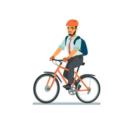 Happy business man riding a Bicycle. A cyclist in a business suit goes to work in the office. Driving an environmentally friendly form of transport around the city. Vector illustration in cartoon style