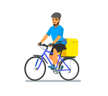 Delivery of bicycles by logistic courier. Bike messenger is a bearded male character of hipster style. Vector illustration in cartoon style