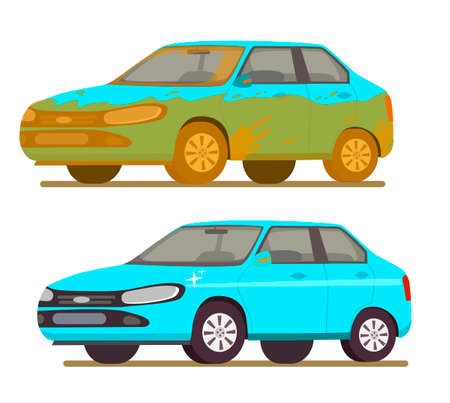 Dirty and clean car. Car before and after car wash. Vector illustration in cartoon