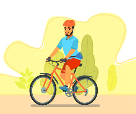 A happy man, dressed in sportswear and a helmet, is riding a Bicycle. Bike ride. Cyclist. Leisure and active recreation.