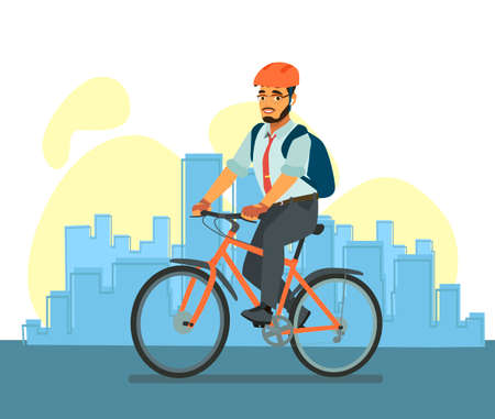 Happy business man riding a Bicycle. A cyclist in a business suit goes to work in the office. Driving an environmentally friendly form of transport around the city.