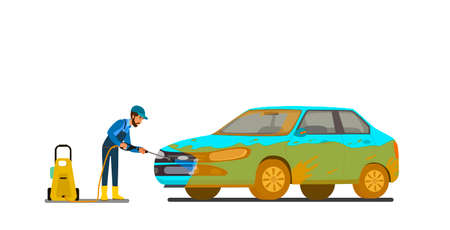 Cool vector flat illustration on dirty and clean car. Car wash stages process from dirty to clean. Dirt, foam covered and shining clean car isolated. Car wash creative design elements