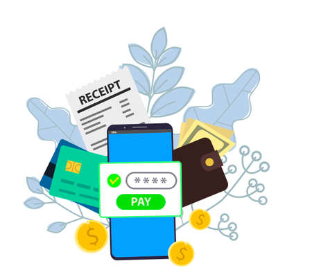 Notification on financial transaction. Smartphone with electronic bill. Coints and card on background. Vector illustration in flat style