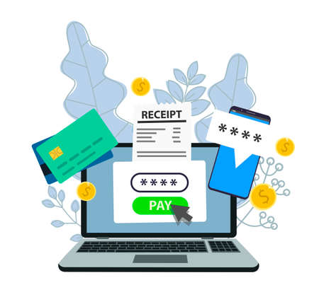 Notification of a financial transaction. Laptop with an electronic receipt. Online payment confirmation via SMS. Vector illustration in flat style.