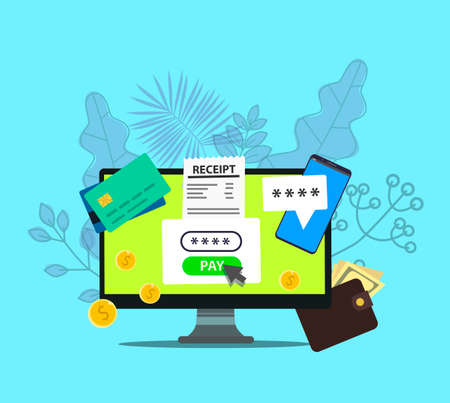 Online payment on computer vector illustration, flat cartoon big pay bill tax via credit card and laptop pc concept, financial accounting, electronic payment notification with digital receipt