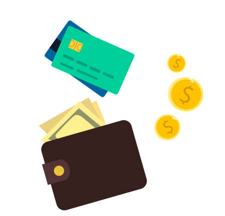 Credit card, wallet and money. Set vector illustration in cartoon style.