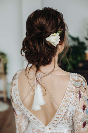 Boho hairstyle. Bride hairstyle.Beautiful bride with fashionable Zdjęcie Seryjne