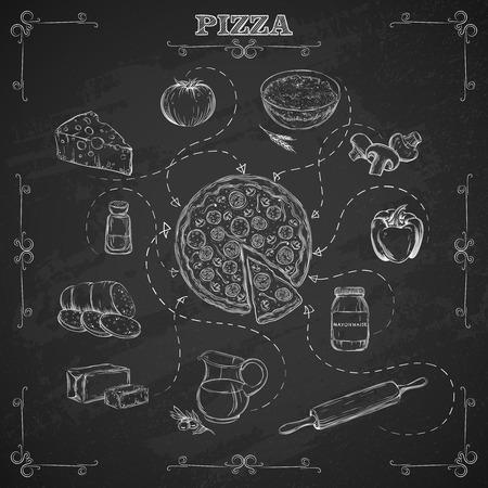 ristorante: Pizza ricetta. Ingredienti per la pizza in stile schizzo. Lavagna sfondo. Illustrazione vettoriale.