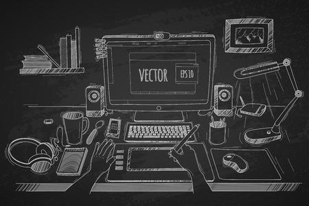 gráfico: Vector a ilustração de designer desktop. Feito no estilo do esboço em um fundo preto quadro-negro. Organização do espaço de trabalho moderno do negócio no escritório.