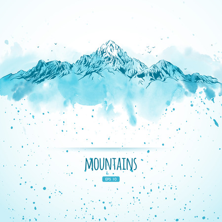 mountain view: Blue mountains, hand-drawn with ink and watercolors in sketch style. Vector illustration.