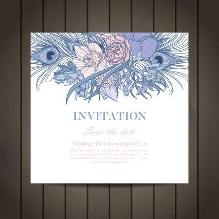 Invitación de la vendimia elegante de la boda con las flores. Tarjeta de invitación. Ilustración del vector.