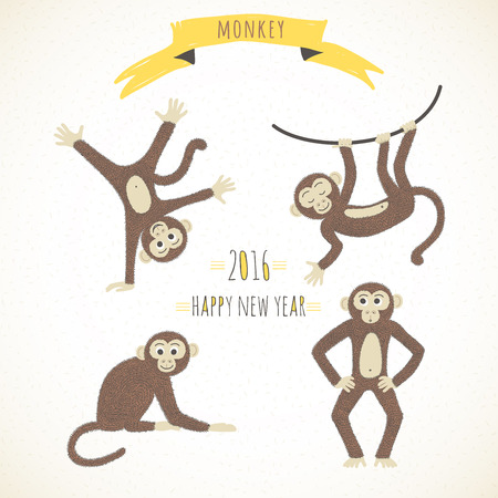 Set of cute funny monkeys in a cartoon style. Symbol of the 2016 year. Vector illustration.