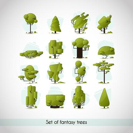 pine forest: Set of tree species. Fantasy concept design. Vector illustration.