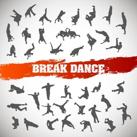 Set of silhouettes of break dance. Vector illustration.
