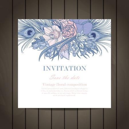 Vintage elegant wedding invitation with flowers. Invitation card. Vector illustration.